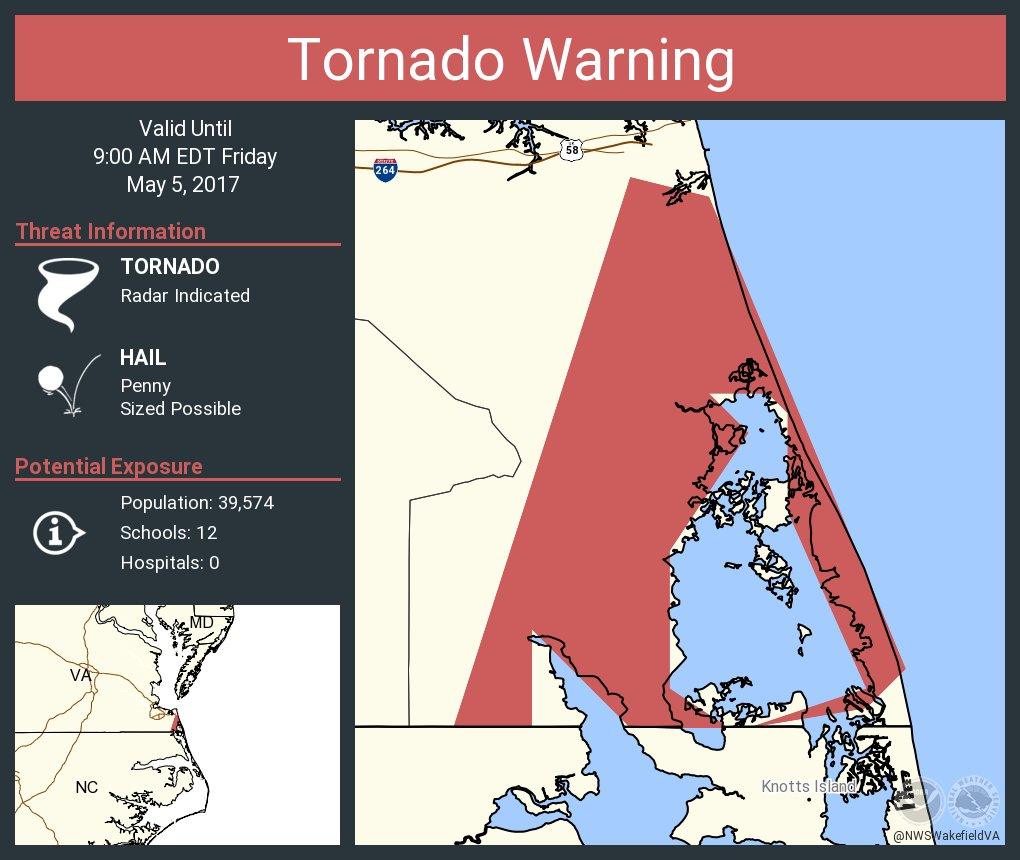 Tornado Warning Virginia Beach