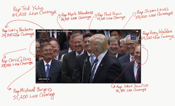 Our Pictorial Coverage fo the Trumpcare Celebration, Annotated with # of people Who Lose Coverage in Each District  https://t.co/jXXfYqCosC