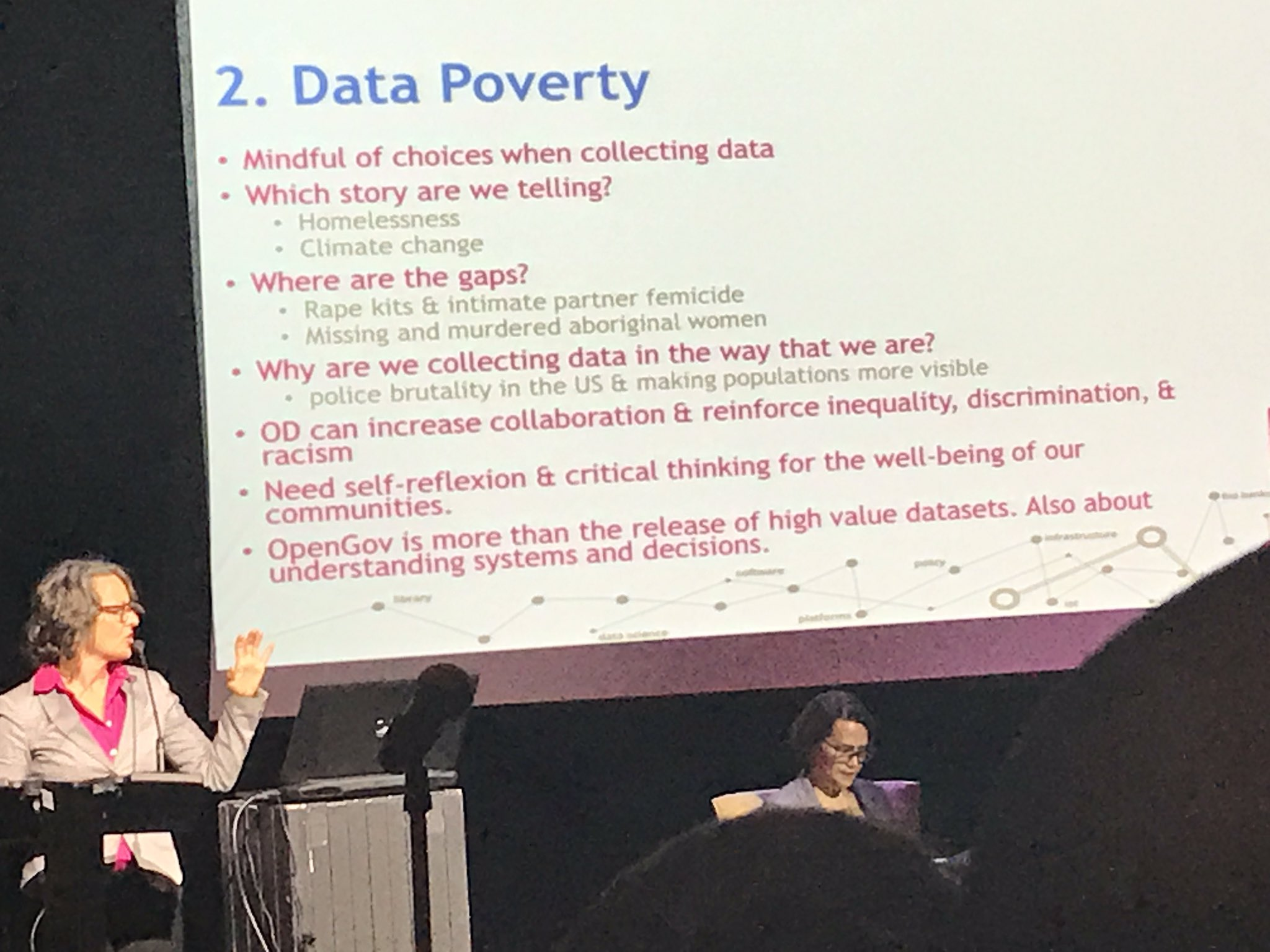 Data poverty is about questioning what data we're not collecting & the stories we're not telling - Dr. Tracey Lauriault #GOOD17 #opendata https://t.co/voz7RKgaVO