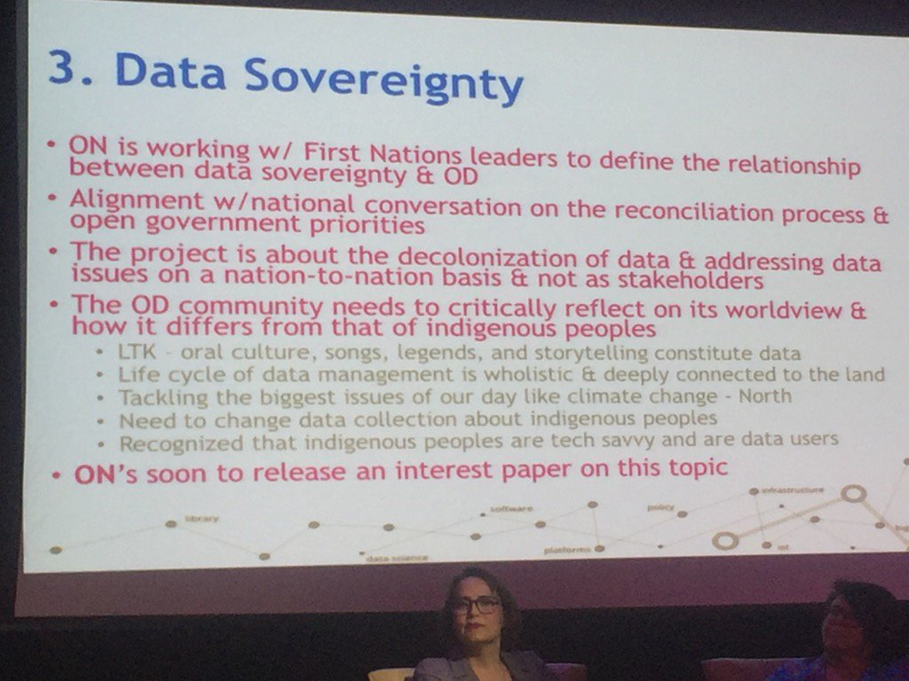 @TraceyLauriault discussing #DataSovereignty #FirstNations data, our own data - much to be done #GOOD17 #OpenData https://t.co/b0a9jMYSMQ