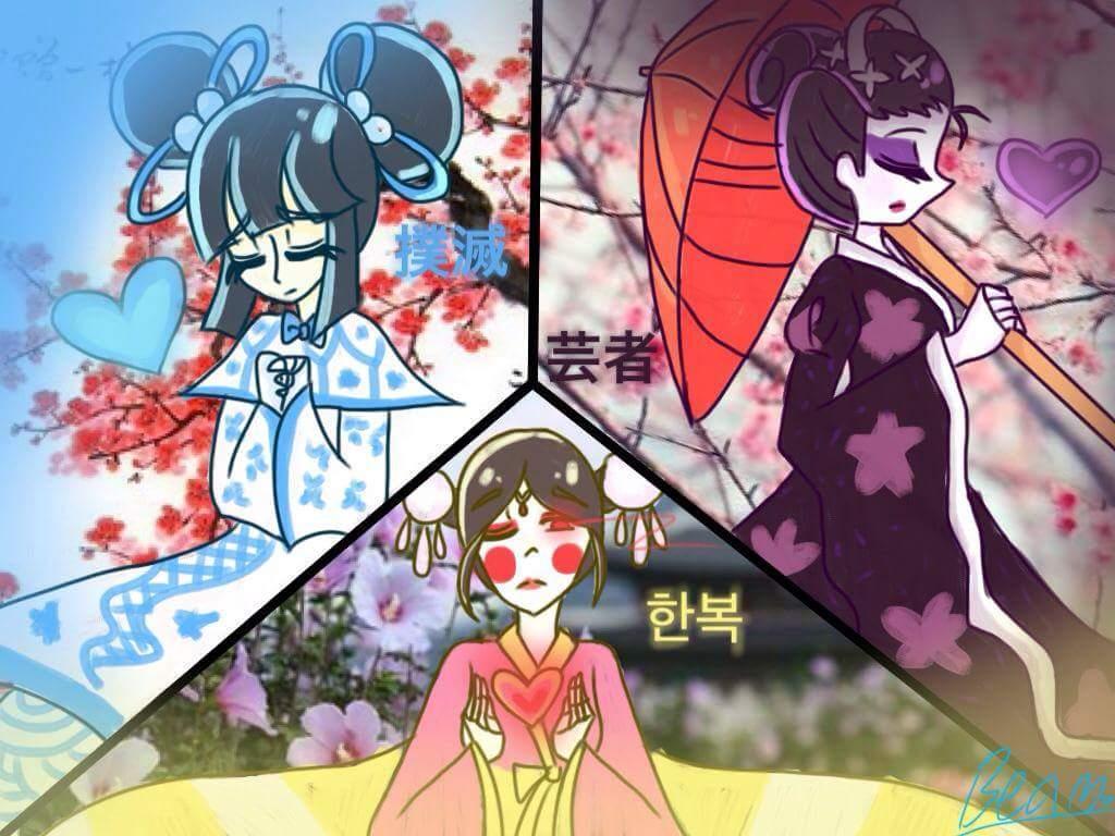 จีน ญี่ปุ่น เกาหลี มากันครบเลย วาดแม่งสะเลย😁😁😁 #หน้ากากอาหมวย #หน้ากากเกอิชา #หน้ากากฮันบก