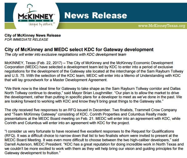 (5of5) MEDC Board selected Team McKinney Gateway (KDC, Corinth Properties, Columbus Realty) 2/21 #SeeMcKinneyWithMe https://t.co/gKgfZHIITy https://t.co/dotSJCs4If