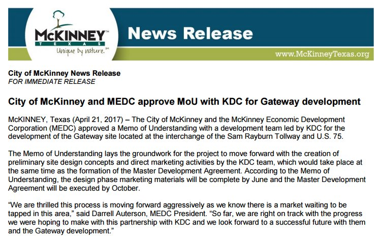The executed MOU was approved by MEDC Board & City Council on 4/18/17 https://t.co/unB75Qq5l8 #SeeMcKinneywithMe https://t.co/jNEdM5QbCX
