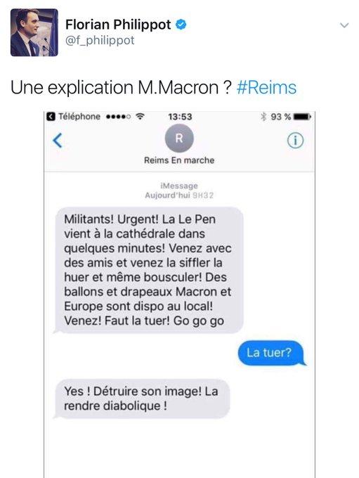 Florian Philippot, cadre du FN, diffuse un photomontage grossier accusant manifestement En Marche ! de menaces de mort