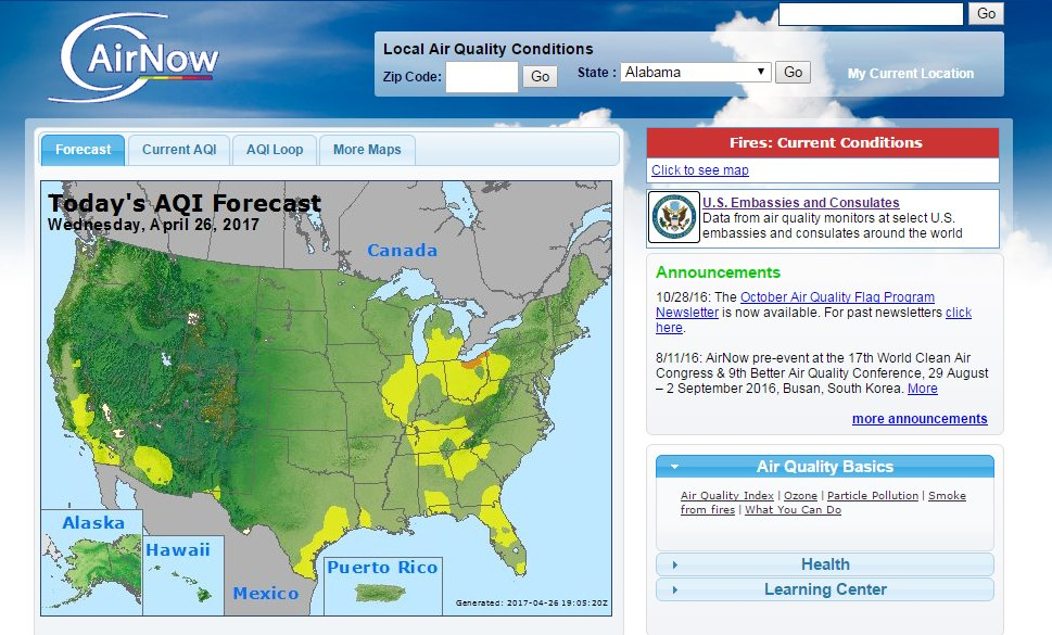 Airnow Gives The Public Daily Air Quality Reports For Over 400 Cities Within Us Parts Of Canada Aqaw Http Goo Gl Jpbv9w Pic Twitter Com Agulzc33ab