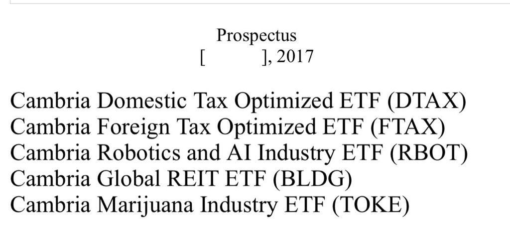 New filing for pot ETF (TOKE), along with robots, REITs and tax optimization from @MebFaber https://t.co/9ocqITgXan