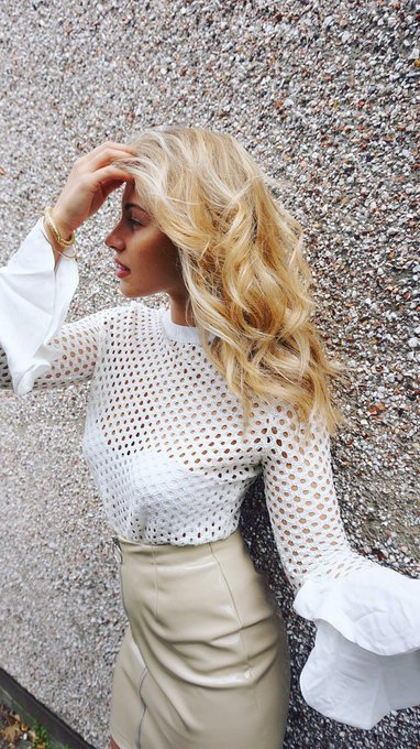 Kirsty Cream Crochet Frill Sleeve Top Missy Empire
