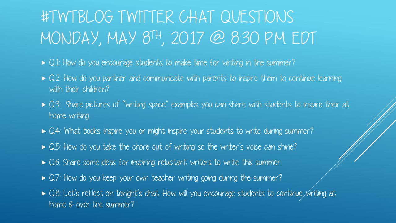 Welcome to tonight's #TWTBlog chat on Keeping the Learning Going Throughout the Summer! So  happy to be hosting tonight! https://t.co/yVnV3n86nE
