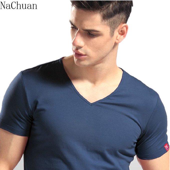 Men V-Neck Cotton T-Shirt
