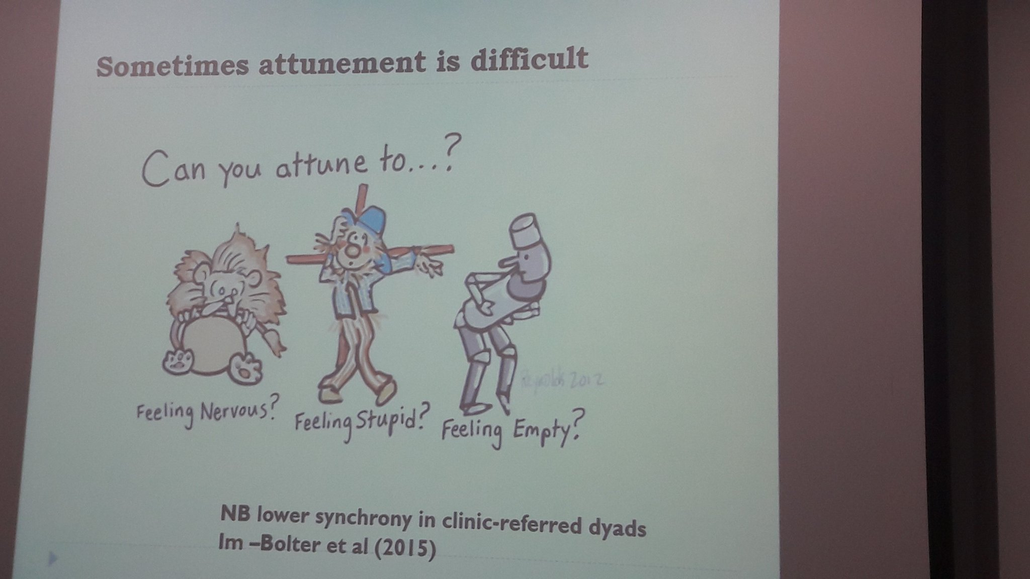 @Melaniespeechie: Our own histories may interrupt our attunement with others, also lower synchrony in clinic-referred dyads #naplic17 https://t.co/4Dy0Hz9S3e