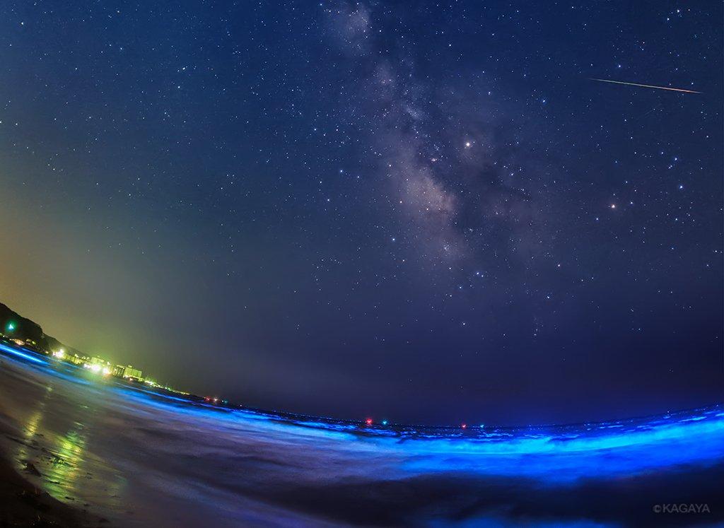 光る海、流星わたる天の川。 波頭が青く光るのは夜光虫の光。その幻想的な海の上をみずがめ座エータ流星群の流れ星が。 わたし自身初めて見る光景にドキドキしながらの撮影でした。 (今朝未明、神奈川県にて撮影)