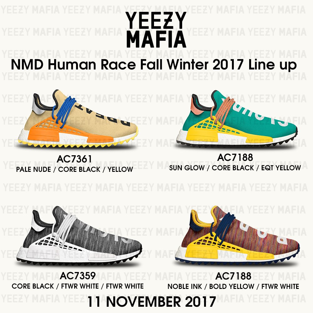befd464796532 Upcoming Pharrell x adidas NMD Human Race Trail Lineup for November 11thpic. twitter.com mx4XSBNvPp