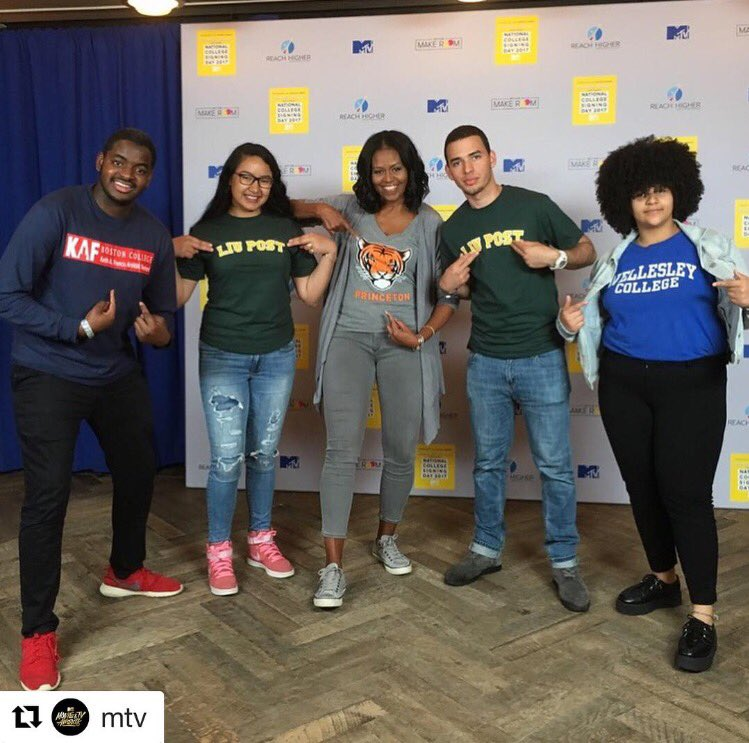 How did @MTV spend their Friday? With @MichelleObama, @getschooled & @BetterMakeRoom celebrating #CollegeSigningDay 📚 🎉 https://t.co/qiQWk0zuPs