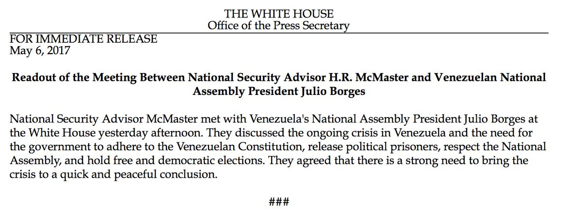 National Security Advisor McMaster met with Venezuela National Assembly President Julio Borges at the @WhiteHouse on Friday afternoon.
