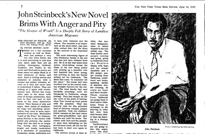 "The original NYT review of ""The Grapes of Wrath,"" which won a Pulitzer, this day in 1940. https://t.co/1pD2SnPjeT https://t.co/NUasxAymoq"