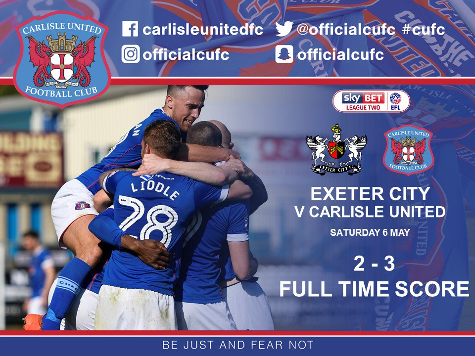 That's full time, we won 3-2 and we are in the play-offs - get in!!!!! #cufc https://t.co/ekPwt7CdGC