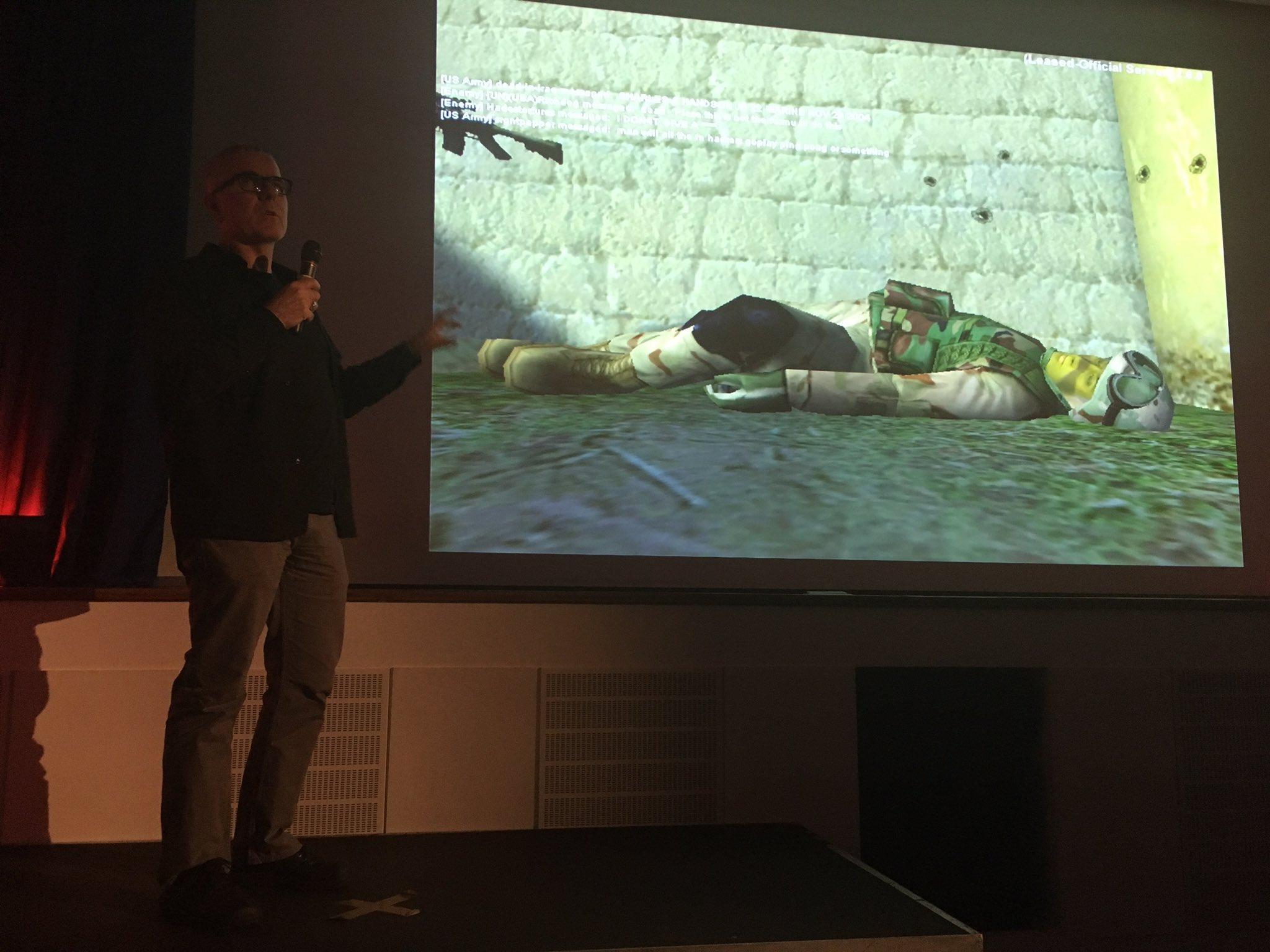 Here at #GamesPK @josephdelappe Professor of Games and Tactical Media, Abertay University talks his journey/responses as artist + activist. https://t.co/RyWJDnPb7w