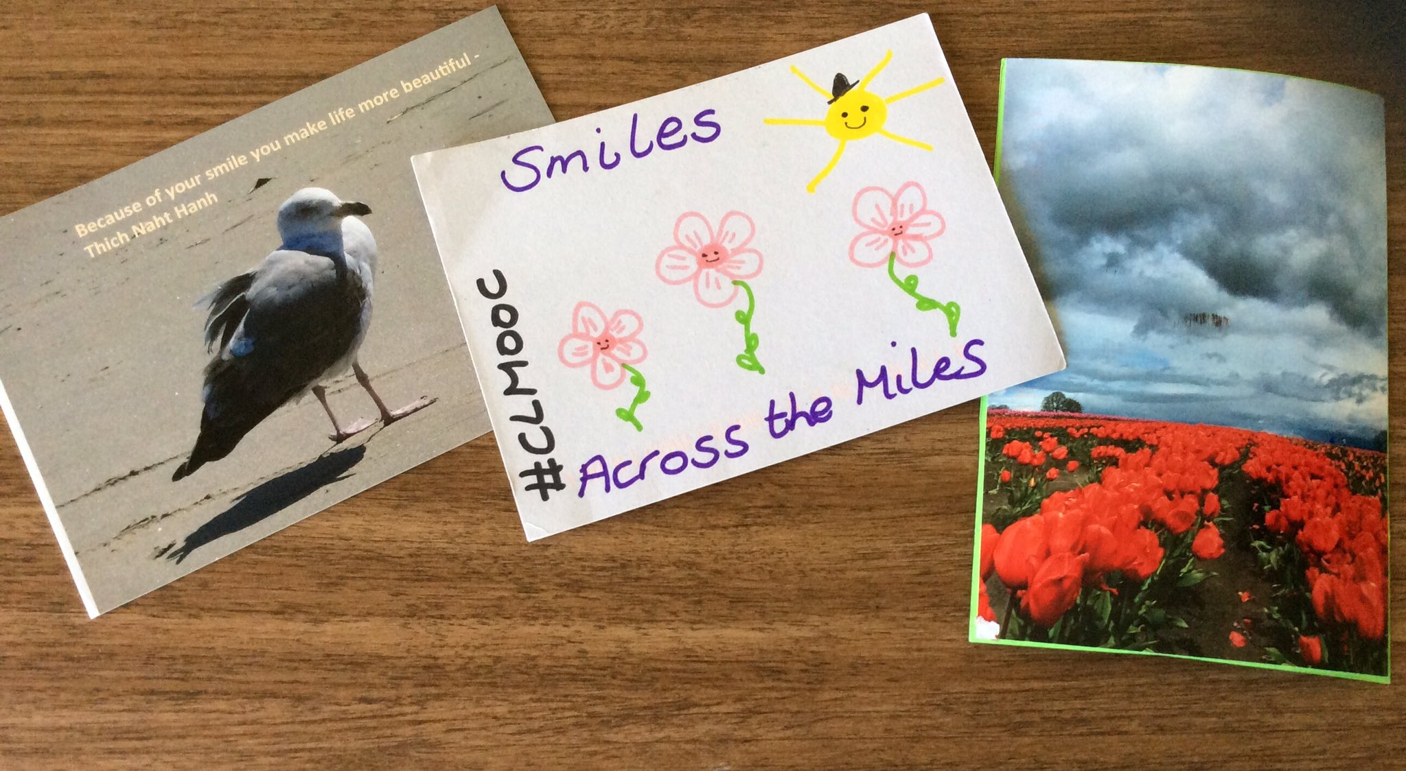 Thanks and Aloha @susanvg @NomadWarMachine and @klbz for the #clmooc Saturday smiles! Love your postcards! #clmooc friends are the best! :) https://t.co/e2KATe5CdN