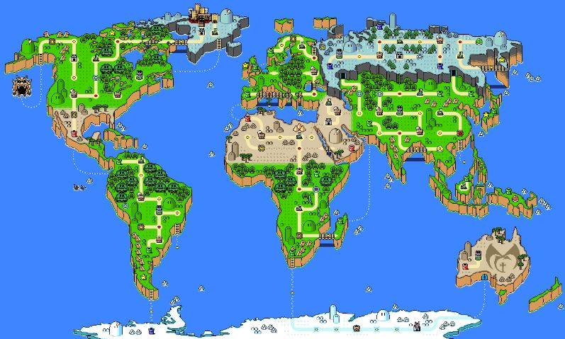 Real World Map in Mario Graphics Quiz - By rafaelairp3