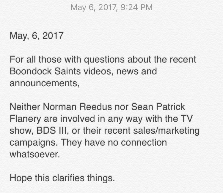 ANNOUNCEMENT about #BoondockSaints from myself and @wwwbigbaldhead attached. Hope this clarifies. https://t.co/XraYlWm0EV