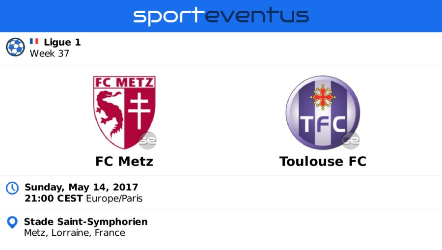 Don&#39;t miss #FCMetz vs #ToulouseFC  Sunday, May 14th 21:00 CEST  #Ligue1  Compare #ticket prices &amp; buy in-app  http:// link.sporteventus.com/evtw?event_id= 156618 &nbsp; … <br>http://pic.twitter.com/x4BiwjwVk6