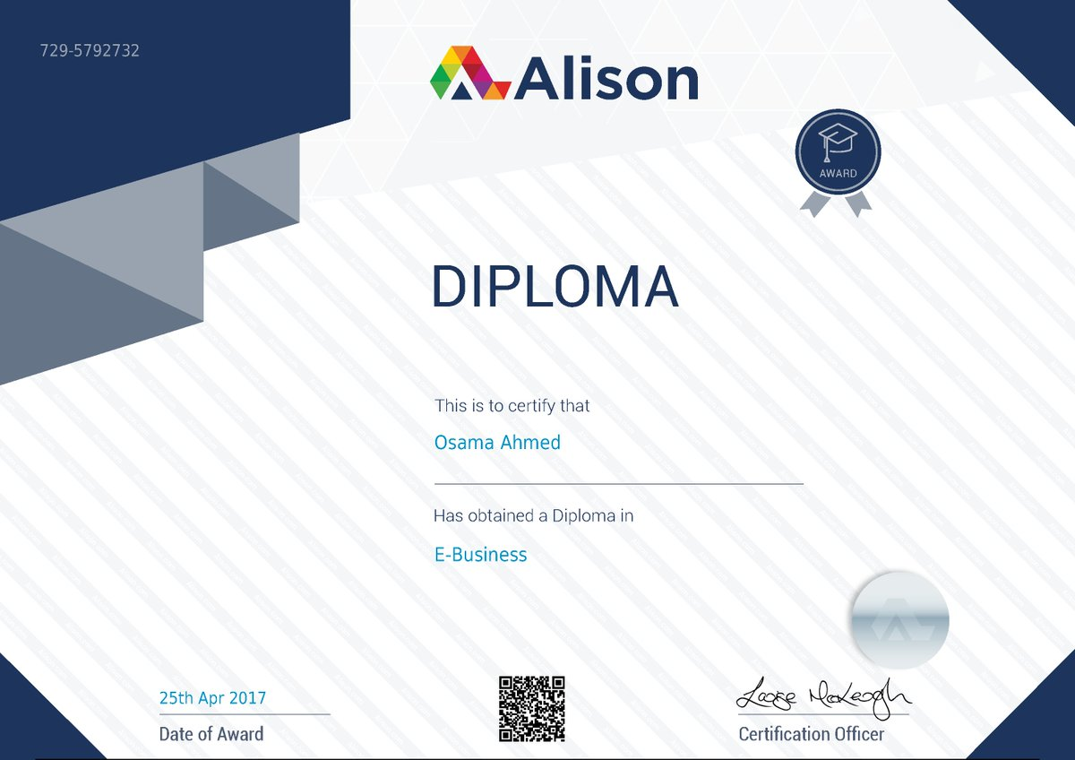 أنواع الشهادات التي توفرها منصة Alison