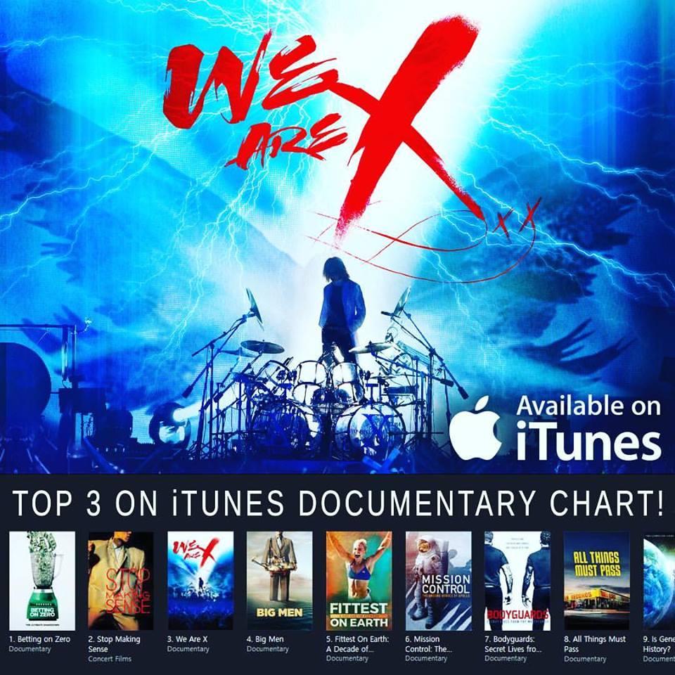 Thanx! #XJAPAN film #WeAreX breaks into Top 3 #iTunes #Documentary chart https://t.co/RrsIct6NdB