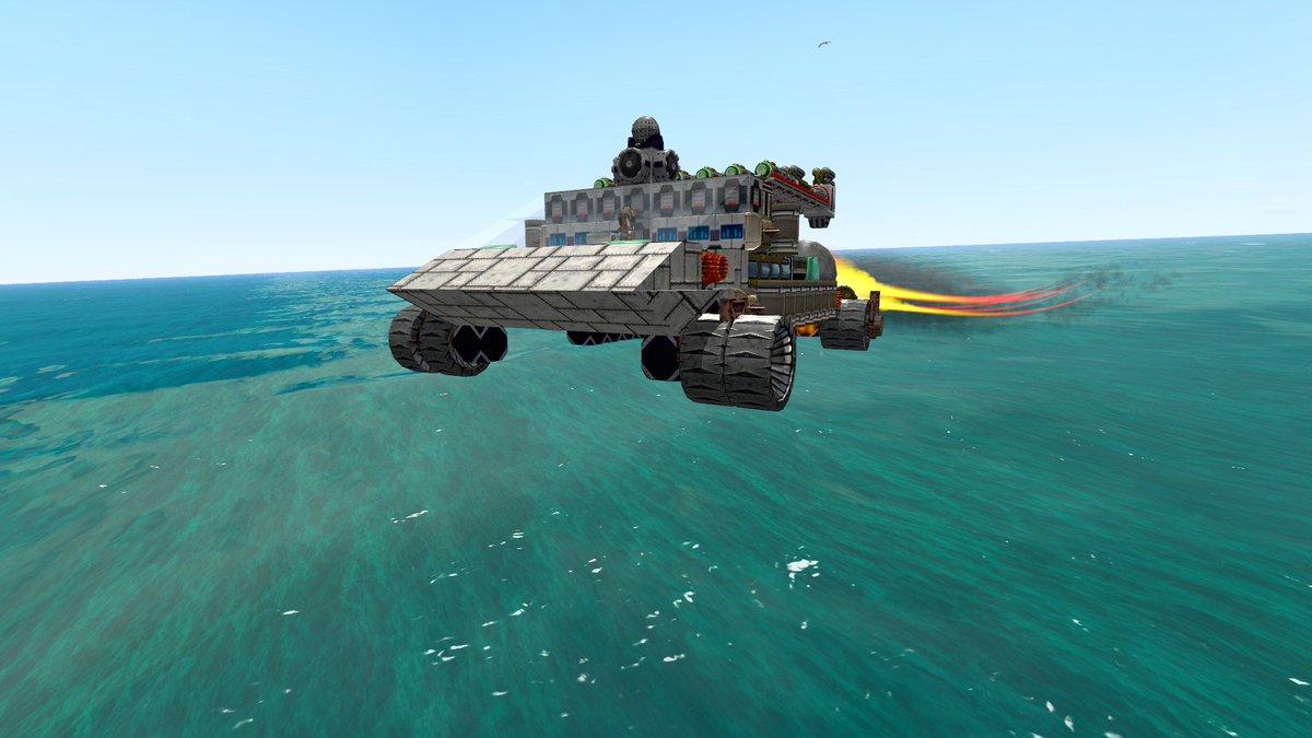地上車両が地面の僅かな凸凹ですぐに破損する問題を試行錯誤していたら超低空を高速で飛行する謎のクルマが出来ていた。 海に持ってきても普通に海面を走る  #FromTheDepths