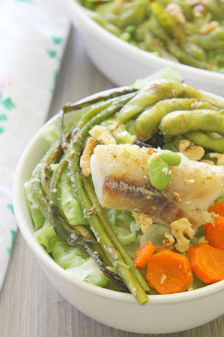 Roasted Cod and Edamame Salad #SundaySupper