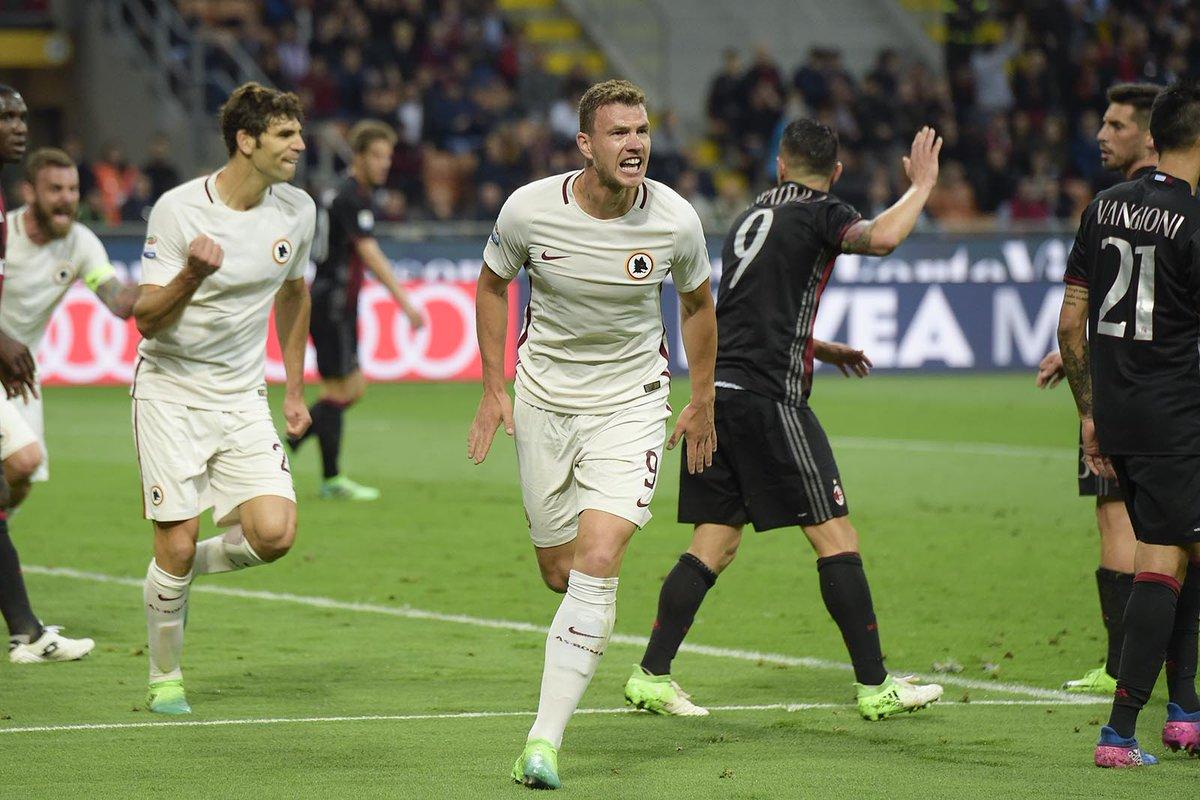 Roma schianta il Milan: 1-4 a San Siro con doppietta di Dzeko