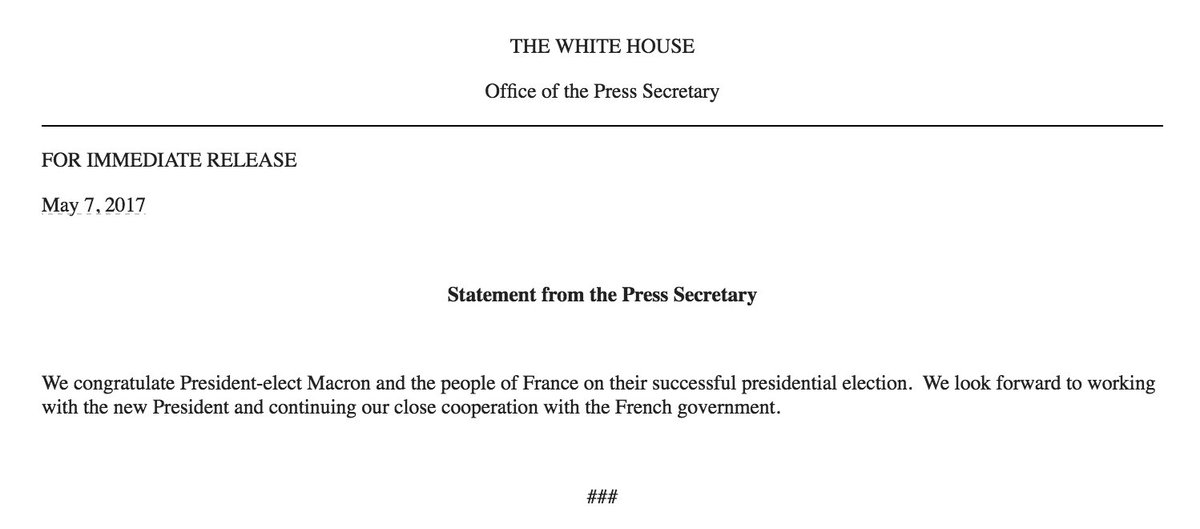 Interesting trump tweeted congratulations to macron but the trump tweeted congratulations to macron but the official white house statement is from m4hsunfo