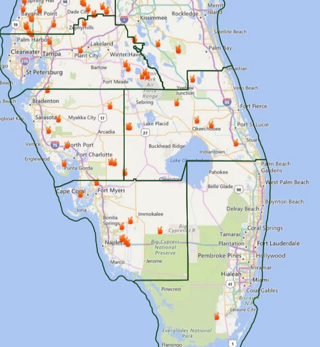I95 Map Florida.Map Of Current Fires In Central To South Florida I 95 Shut Down In