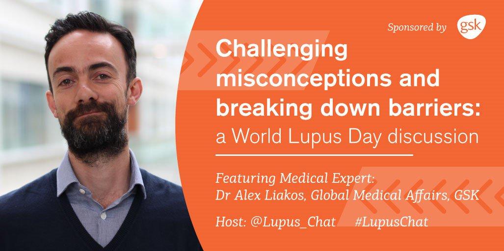 Dr Alex Liakos, Medical Affairs, GSK here joining @TiffanyandLupus @WorldLupusFed. All tweets from me will end with AL #LupusChat -AL https://t.co/YCIHajlirJ