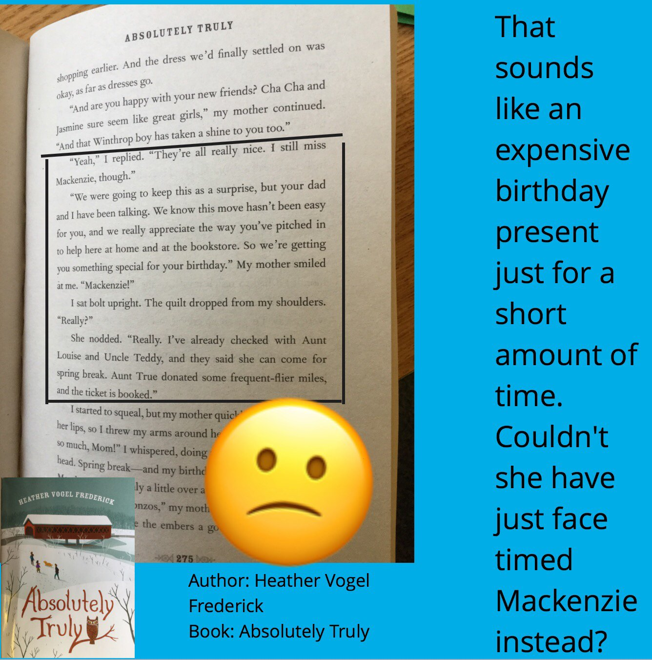 #booksnapswk2 #Booksnaps  Student SK_4VDH is sharing Absolutely Truly by @HVFrederick @kerrvand #betl https://t.co/p7KCfZfuc4