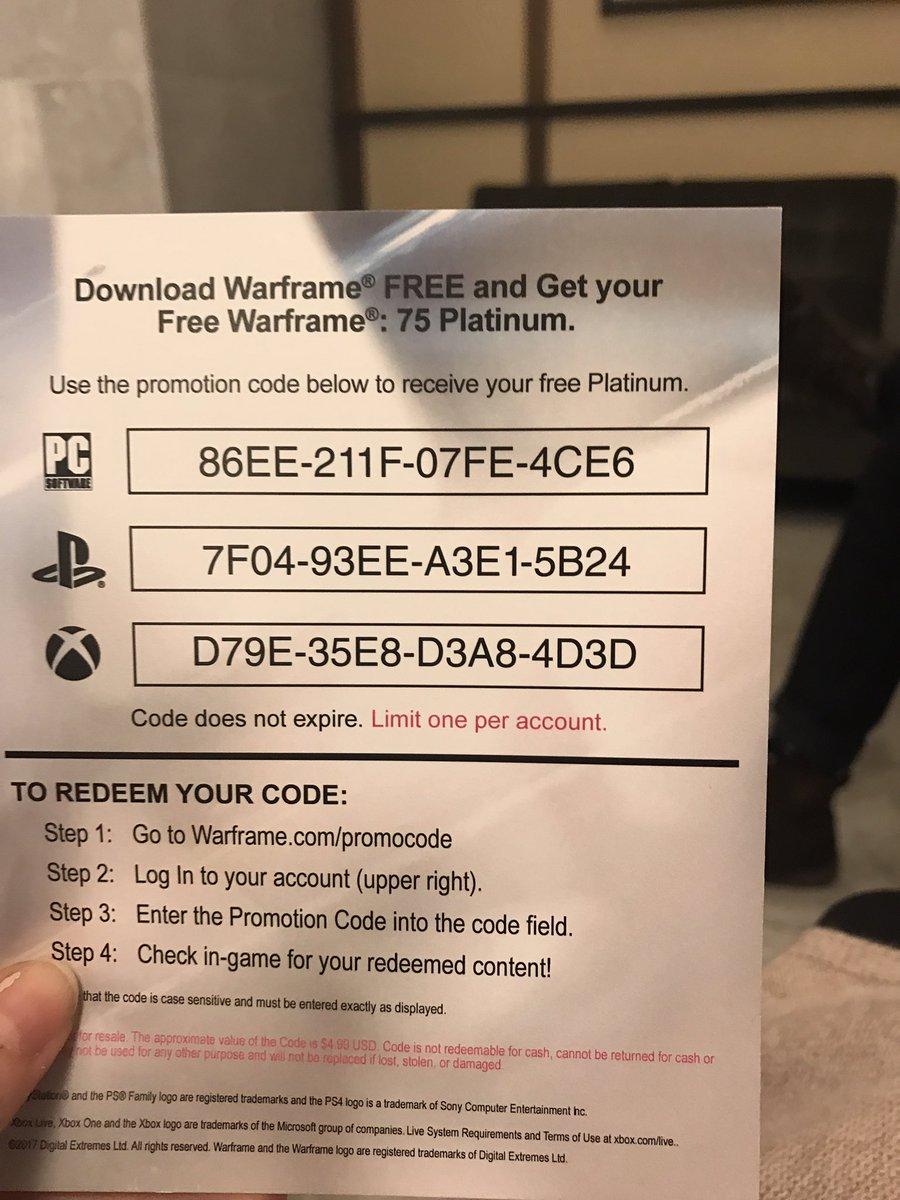 warframe free codes xbox one 2018