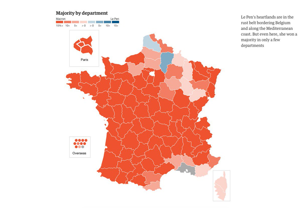 Macron Beats Le Pen In French Presidential Election As It - Us election 2016 map the guardian