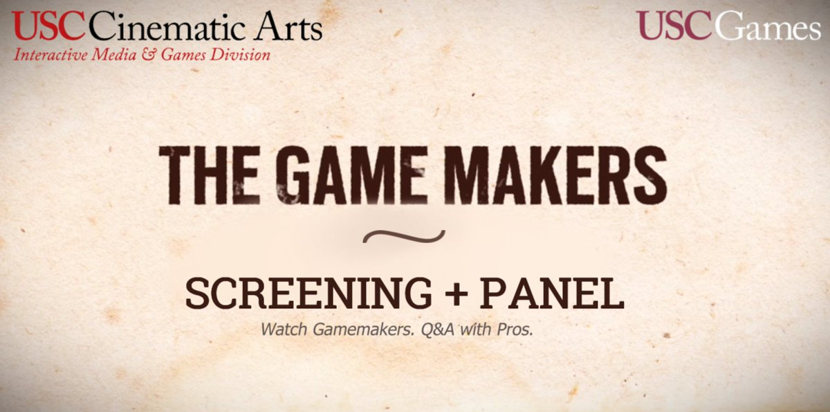 Cool stuff. The Game Makers is proud to be screened to @USC_IMGD students tomorrow afternoon: alturl.com/xx9sm