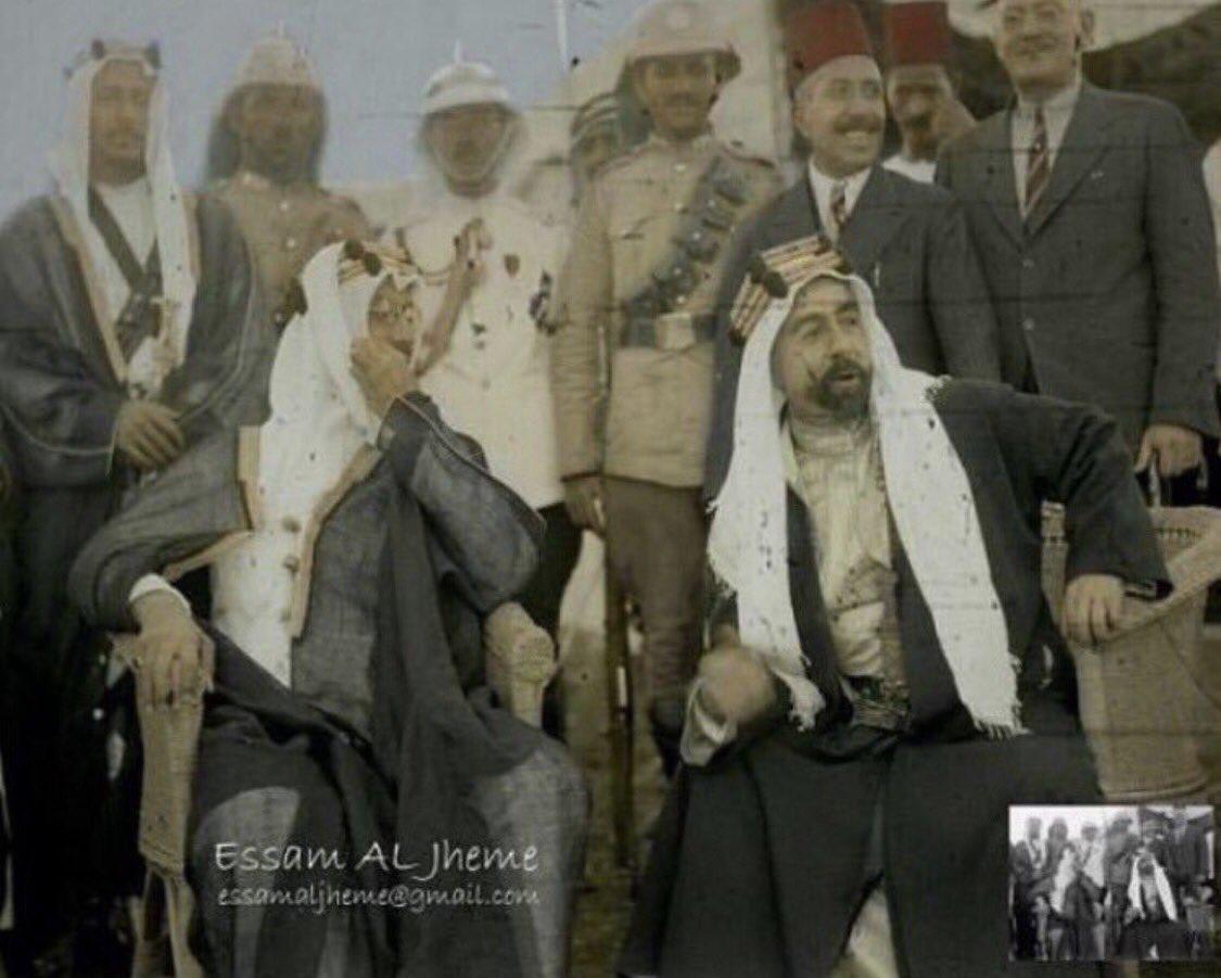 نوادر من التاريخ Twitterren صورة نادرة تجمع الملك سعود بن عبدالعزيز آل سعود والملك عبدالله ابن الشريف حسين ملك الأردن في عام ١٩٣٥م