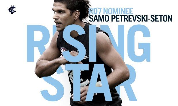 Back to back! Congratulations to Samo Petrevski-Seton, the Round 7 @AFL Rising Star nominee: cfcblu.es/SamoRd7RS #BoundByBlue