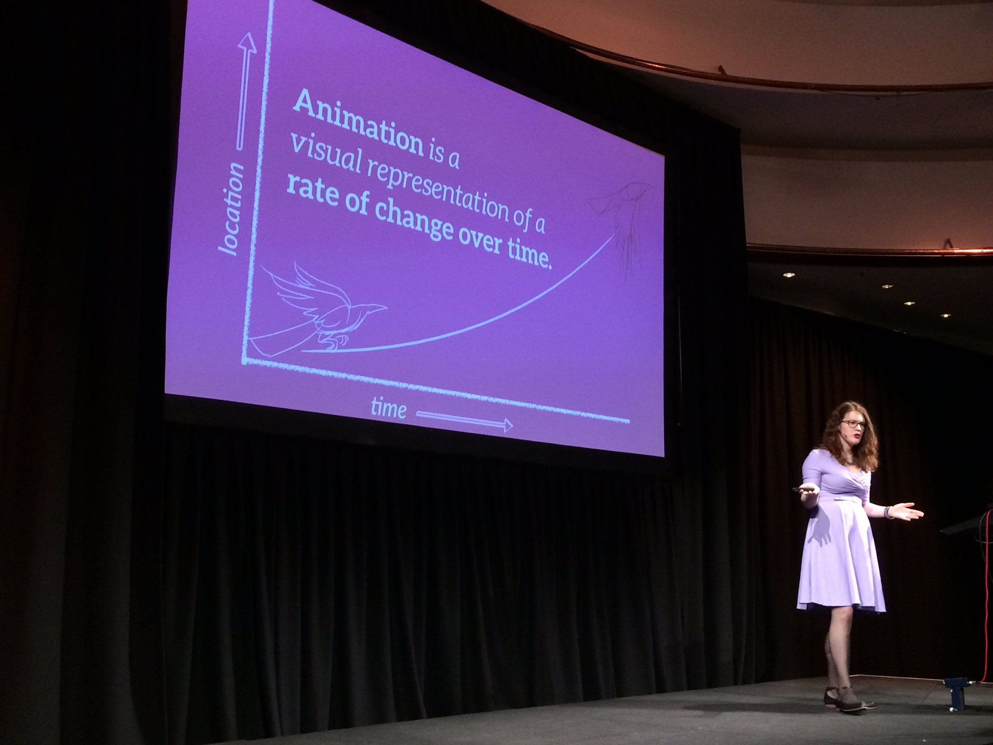"""What is animation? """"A visual representation of a rate of change over time."""" @rachelnabors #respond17 https://t.co/eidR0oCaM6"""
