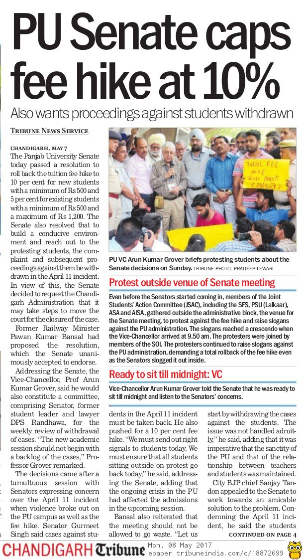 .@nsui PU & students owe a debt of gratitude 2 Sh @pawanbansal_chd who continuously take up #PUFeeHike issue & get it restricted to 10% pic.twitter.com/1RtKOqySqr