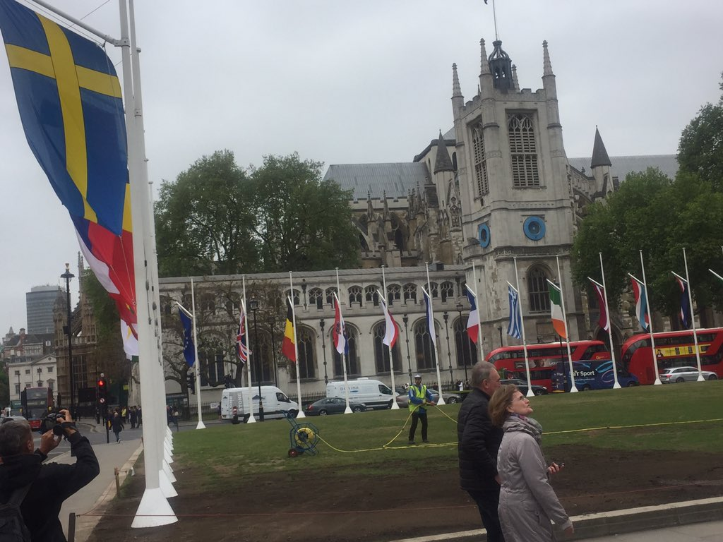 In Parliament Sq they've just put up all the EU28 flags, including EU flag for Europe Day / anniversary of Schuman declaration tomorrow...