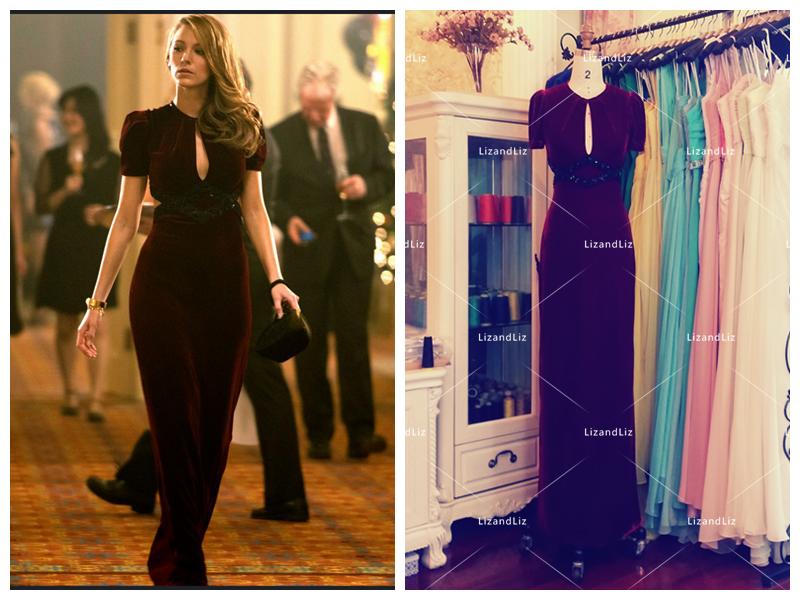 d79cba9cf07 LizandLiz re-creation of Blake Lively burgundy velvet dress in movie