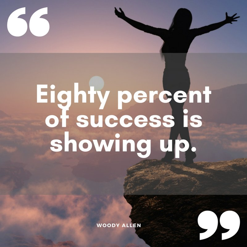 """""""Eighty percent of success is showing up."""" Woody Allen #QOTD #inspiration https://t.co/grY4BMcEwH"""