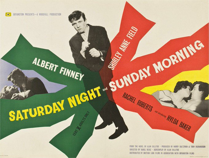 Happy birthday to Albert Finney - SATURDAY NIGHT AND SUNDAY MORNING - 1960 - UK release poster