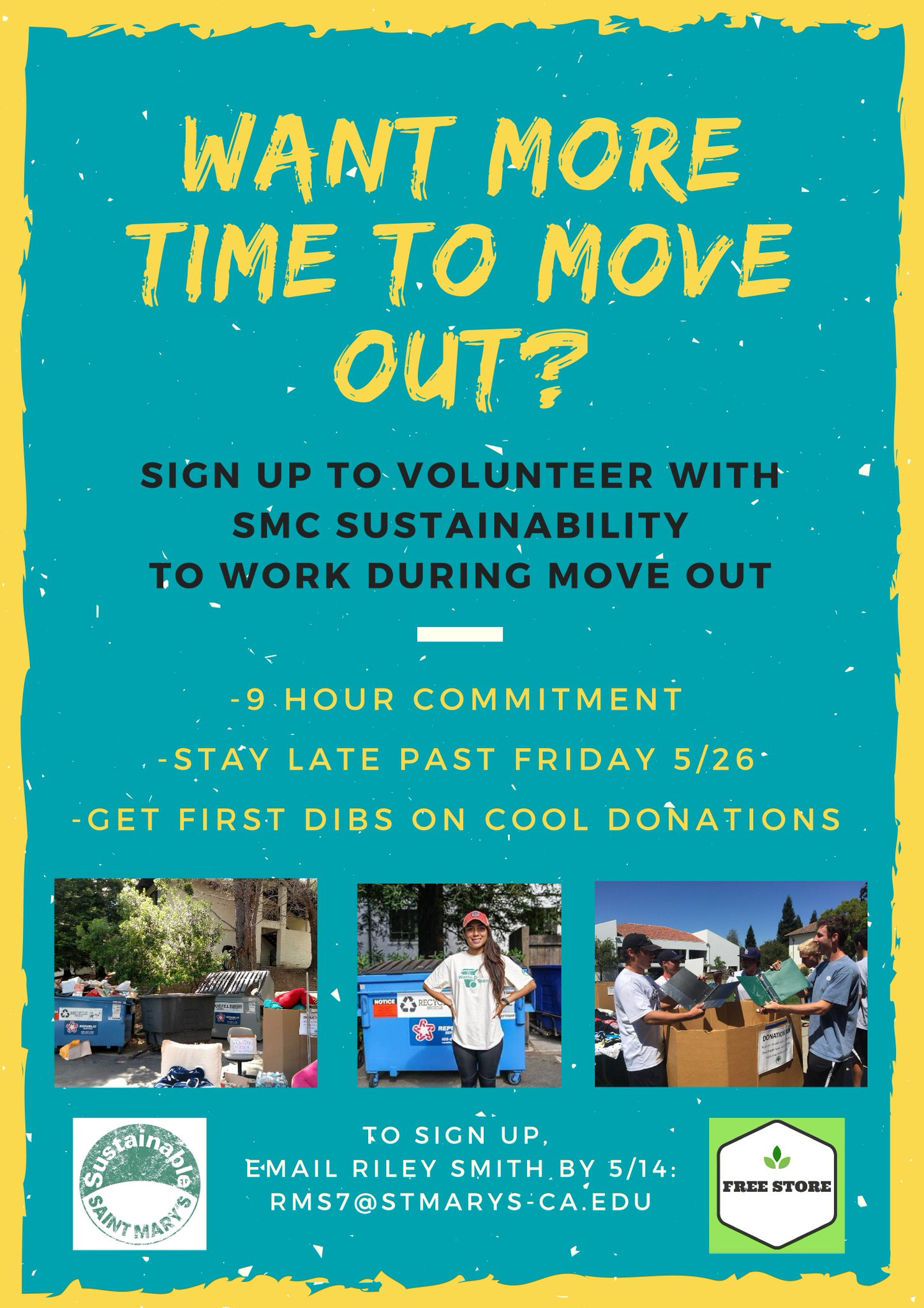 We have a need for ~10 more volunteers for sustainable move out!  #omgsmc #greengaels https://t.co/iicKx5hjQy