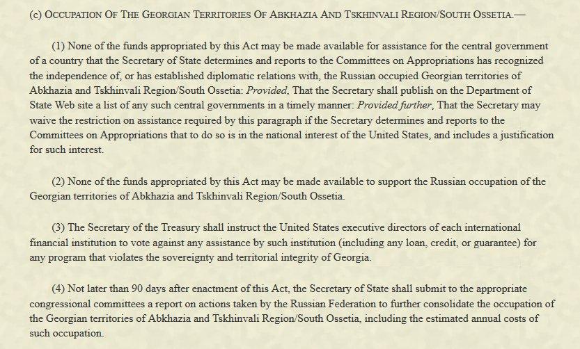 US President @realDonaldTrump signed a legislative act designating Abkhazia and  S. Ossetia as occupied by Russia