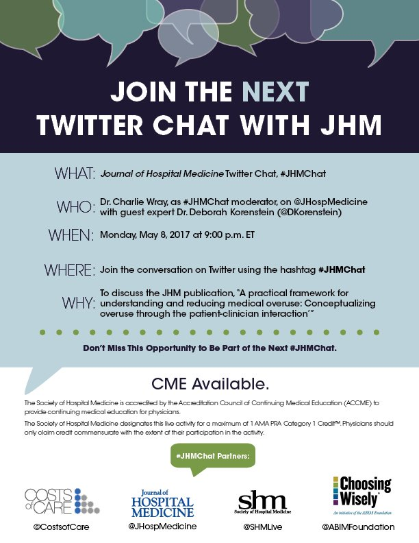 #JHMChat with @JHospMedicine @WrayCharles @DKorenstein starts NOW! Claim #CME after the discussion here: https://t.co/JJDy0rvjGh https://t.co/KOFLtENk75