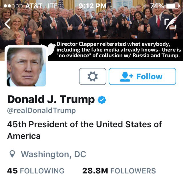 Look at the new account header of @realDonaldTrump. The quote is one of his tweets from today. THIS MAN IS OUT OF HIS FUCKING MIND.