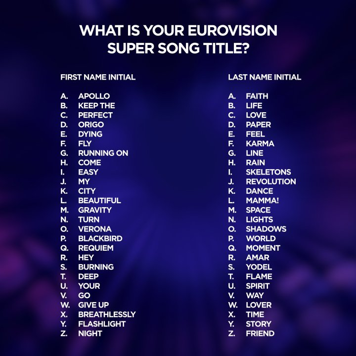 Eurovision On Twitter What Would Your Super Song Title